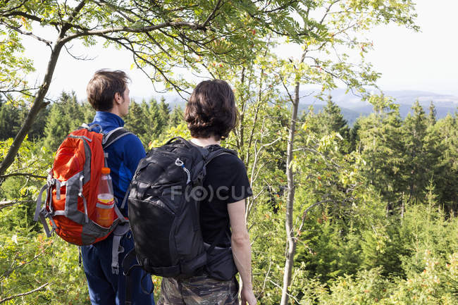 Germany, Harz, Brocken, back view of two friends with backpacks looking at view — Stock Photo