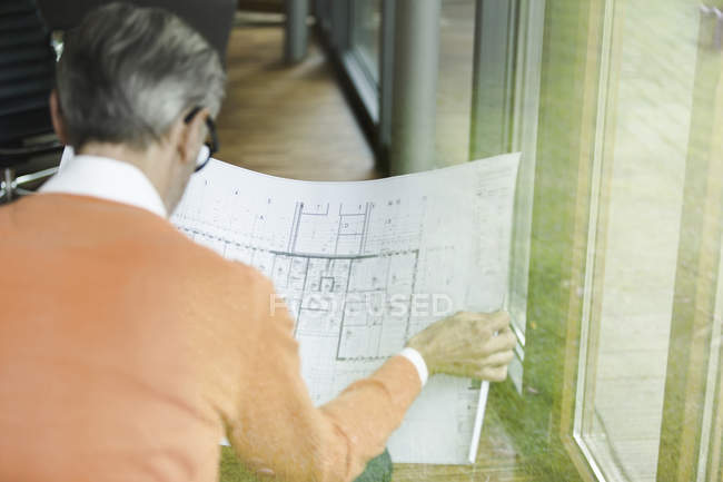 Back view of man looking at construction plan — Stock Photo