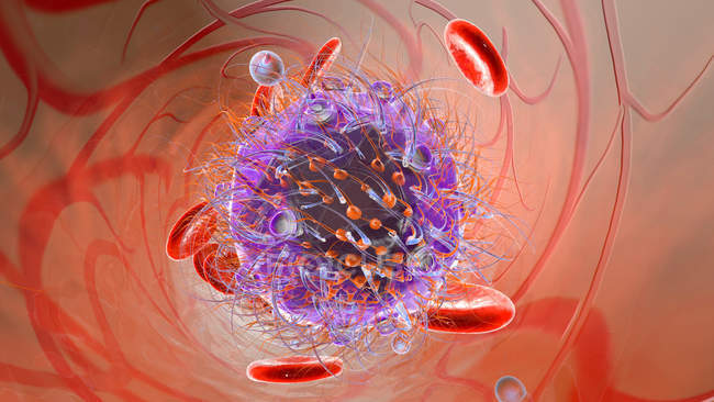 Virus with erythrocyte cells — Stock Photo