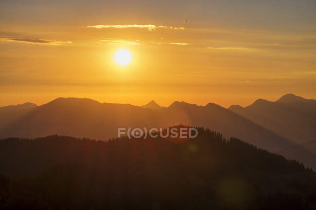 Scenic view of Sunrise at the Riederberger Horn, Allgaeu, Bavaria, Germany — Stock Photo