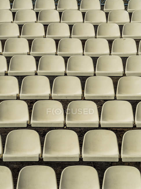 Front view of white seats in theater arranged in leveled rows — Stock Photo