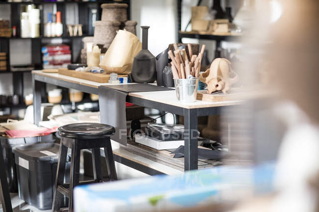 Craft workshop interior with different models — Stock Photo