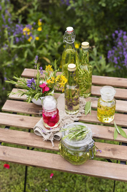 Different herb oils — Stock Photo