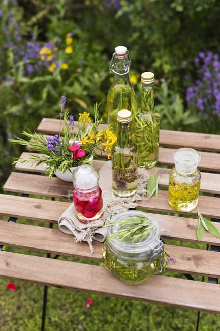 Aceites de hierbas diferentes - foto de stock