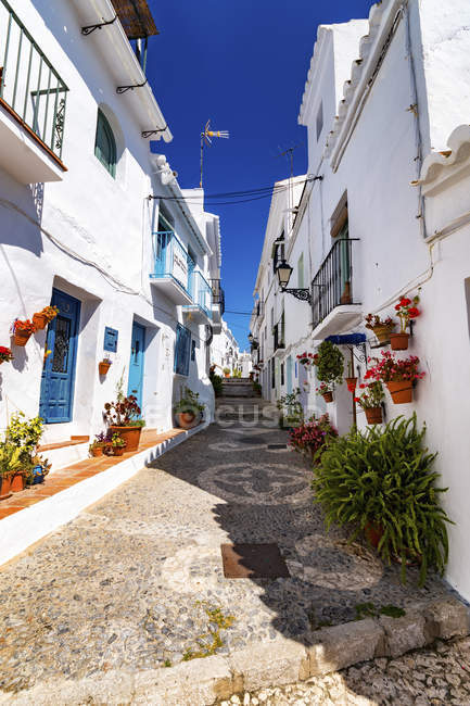 Alleyway with white houses, Andalusia — Stock Photo