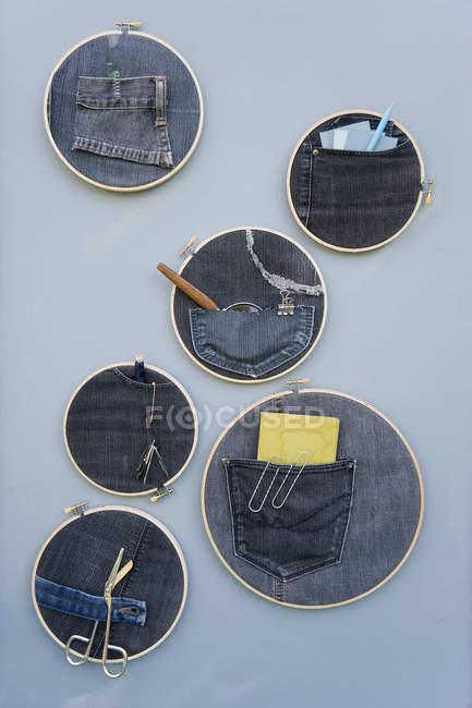 DIY, pinboard, browdry frame, denim — стоковое фото