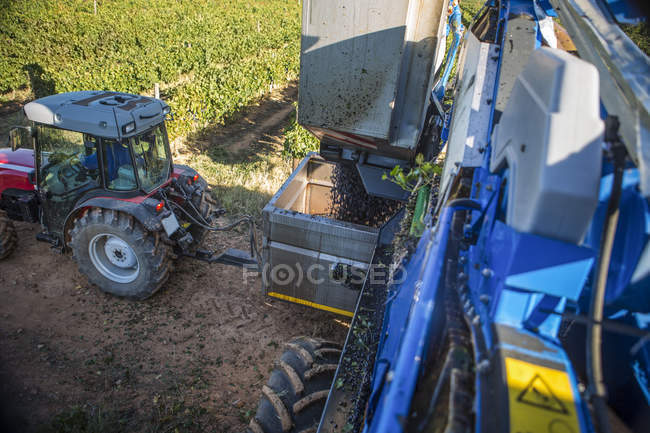 Harvesting machine and tractor — Stock Photo