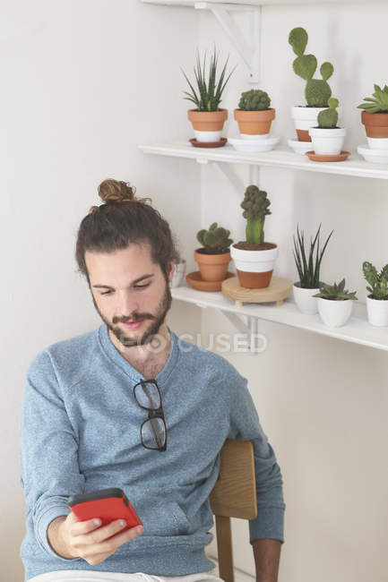 Young man with a collection of cacti looking on cell phone — Stock Photo