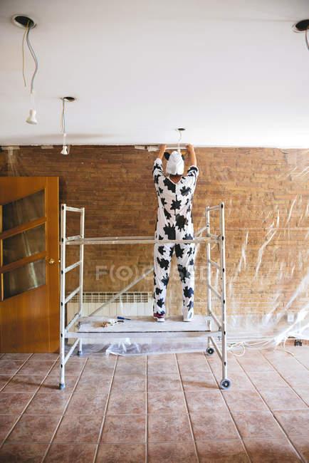 Mulher vestindo fantasia de vaca, cobrindo uma parede com plástico antes de pintar — Fotografia de Stock