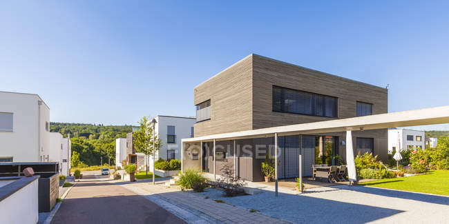 Development area with passive houses — Stock Photo