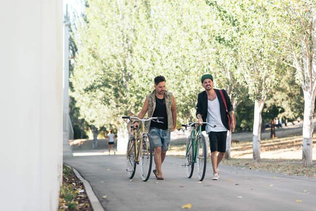 Dos hombres caminan con las bicicletas en el parque, vista frontal - foto de stock