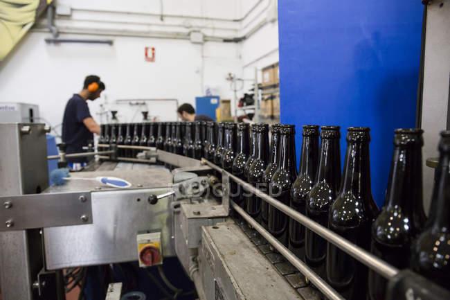 Hommes travaillant dans une usine d'embouteillage de bière — Photo de stock