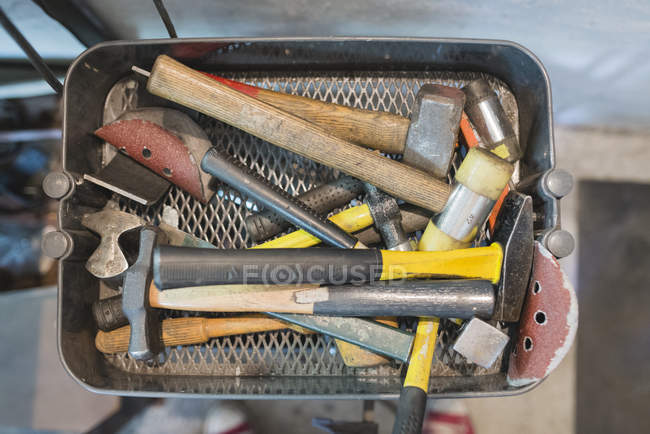 Various hammers in a box — Stock Photo