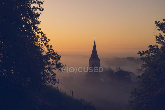 Церковь на рассвете, Вайнсберг — стоковое фото