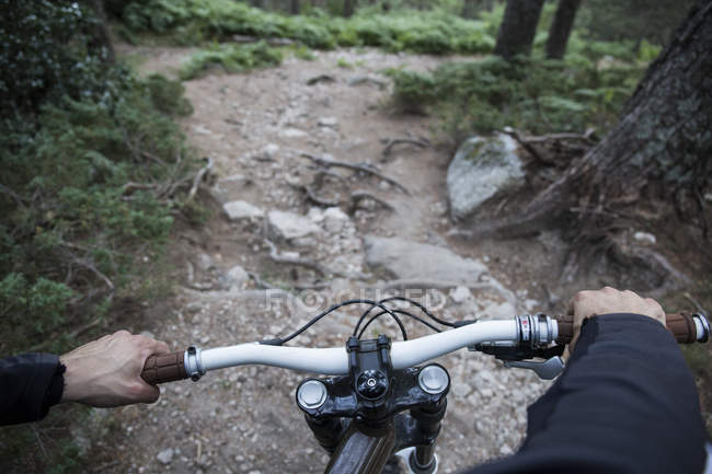Mountainbiker riding downhill on rocky path in a forest — Stock Photo