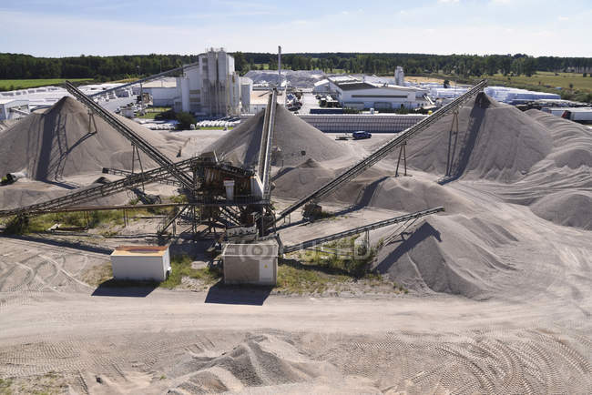 Conveyor belts in gravel pit — Stock Photo