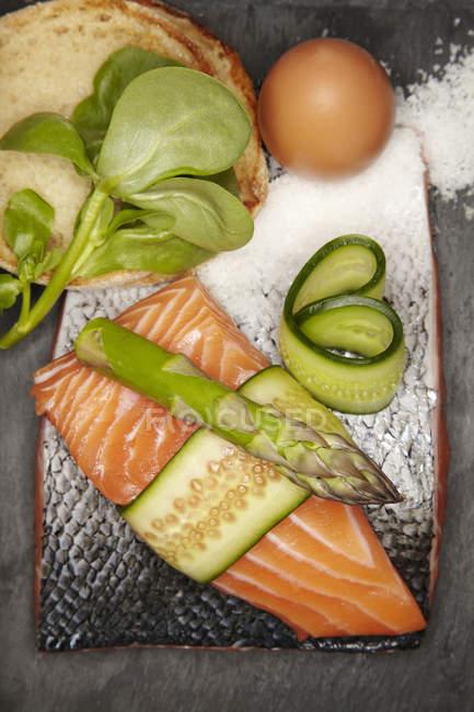 Ingredients for salmon burger — Stock Photo