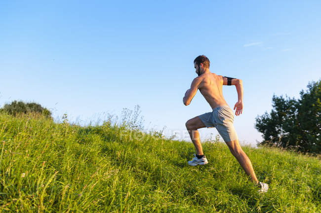 Shirtless athlete running uphill on meadow — Stock Photo