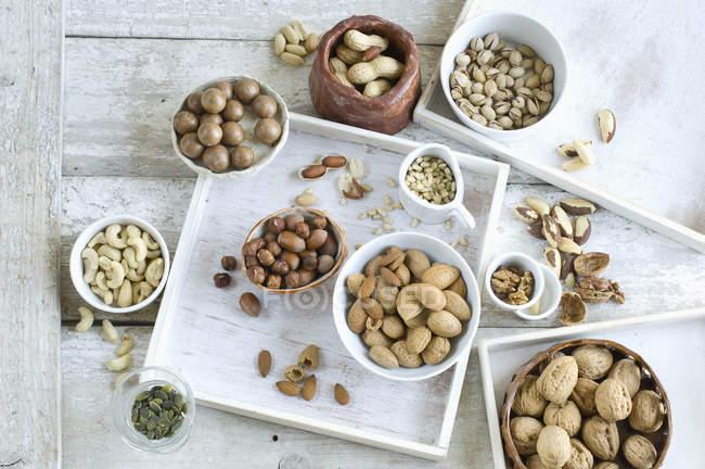 Різні види горіхів — стокове фото