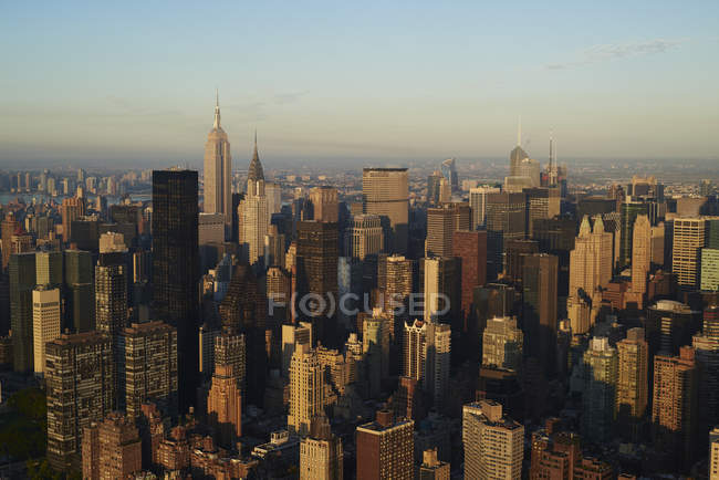 Aerial photograph of New York City Midtown business district in the early morning. — Stock Photo