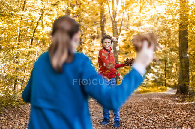 Mother and son throwing with autumn leaves in forest — Stock Photo