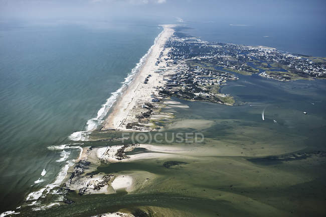 USA, Aerial view of Hurricane Isabel damage to Hatteras Island in the Outer Banks of North Carolina — Stock Photo