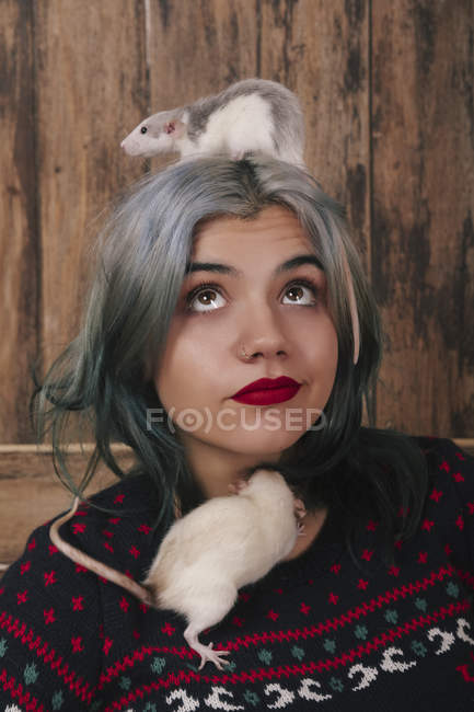 Portrait of young woman with two pet rats wearing patterned knit pullover — Stock Photo