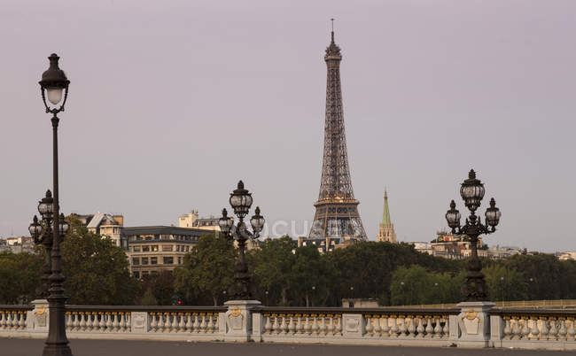 Rance, Paris, Pont Alexandre III, Eiffel Tower in background — Stock Photo