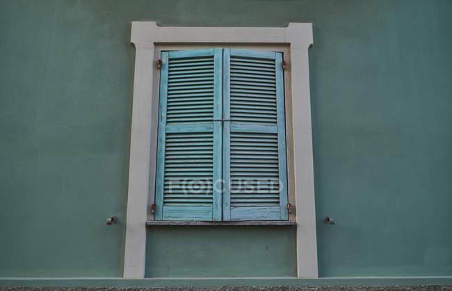 Gros plan de fermeture de la fenêtre fermée verte — Photo de stock