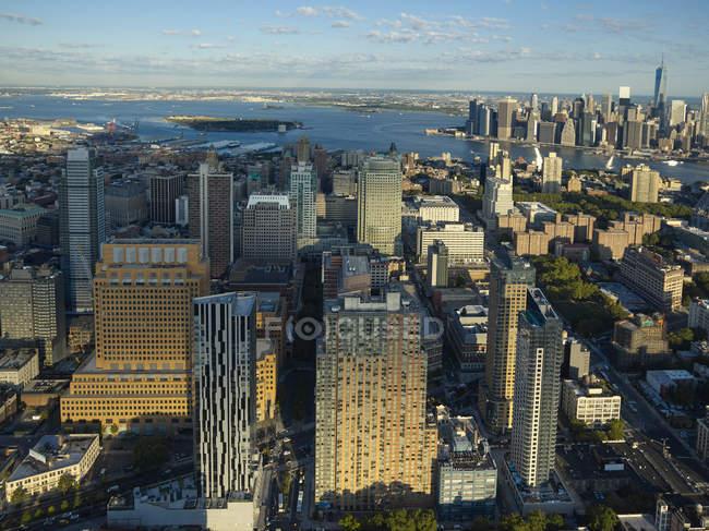 Fotografia aérea de Brooklyn na luz do sol, cidade de Nova Iorque, Nova Iorque, EUA — Fotografia de Stock