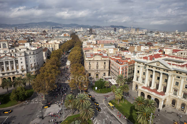 Spain, Barcelona. Aerial view of square and La Rambla street — Stock Photo