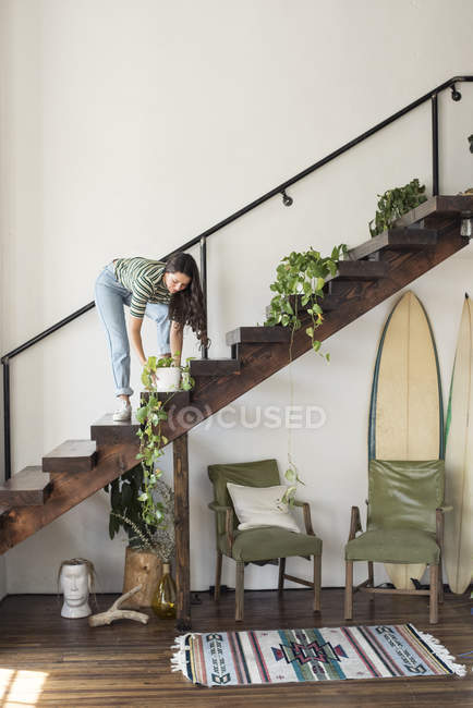 Young woman on stairs in a loft caring for potted plant — Stock Photo