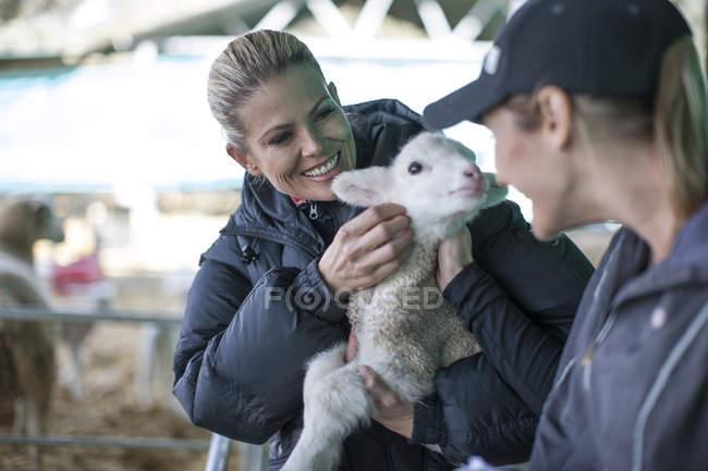 Deux femmes tenant un petit agneau à la ferme — Photo de stock