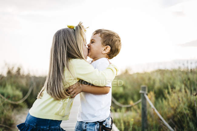 Cute Caucasian Little Brother And Sister Hugging In Long Green Grass
