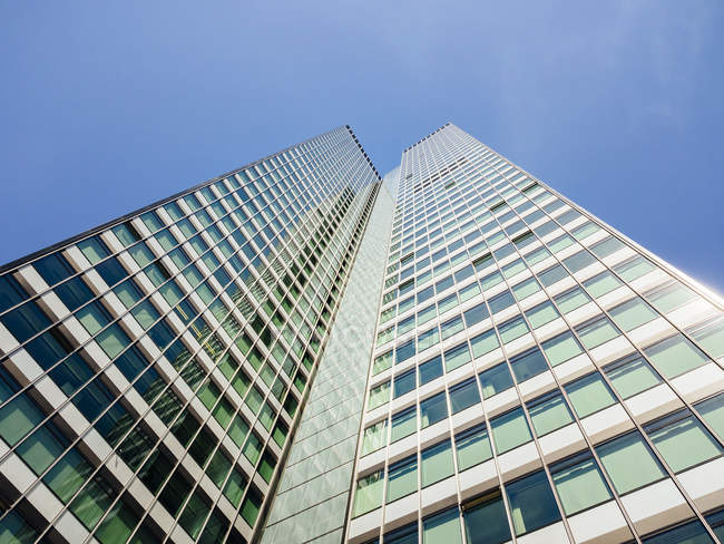 Germany, Frankfurt, office tower seen from below — Stock Photo