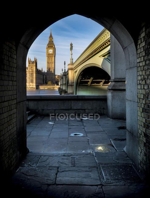 Reino Unido, Londres, Rio Tamisa com Westminster Bridge e Big Ben — Fotografia de Stock