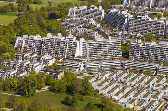 Germany, Bavaria, Munich aerial cityscape with residing are building view from above — Stock Photo
