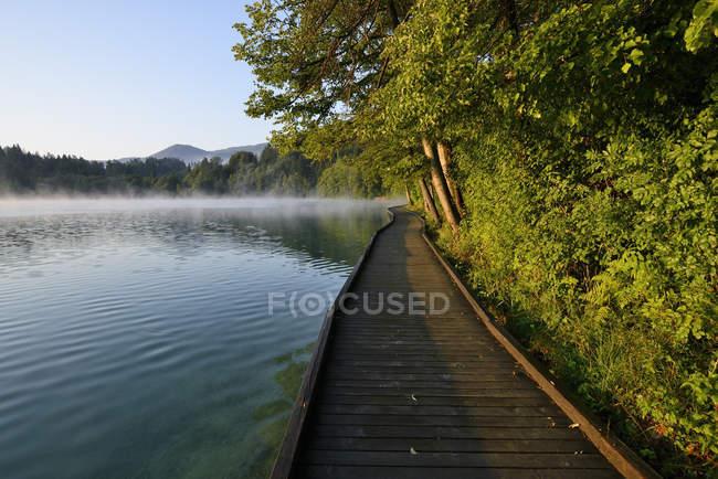Passeggiata di legno sul lago di Bled, Gorenjska, Slovenia — Foto stock