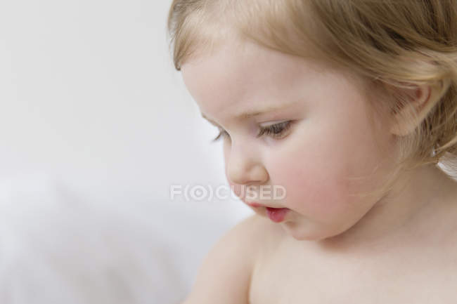 Portrait of toddler girl, close-up — Stock Photo