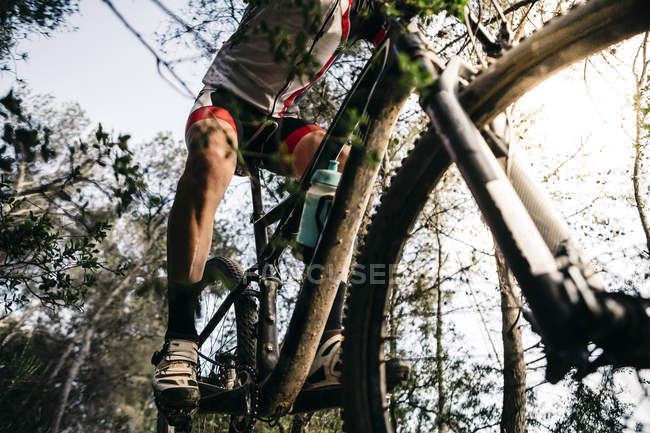 Close-up of mountain biker on the move — Stock Photo