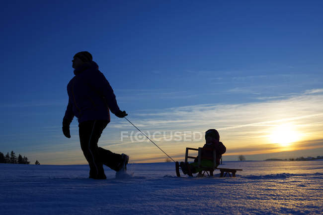 Мати і дочка качається на санках на заході сонця в природі — стокове фото