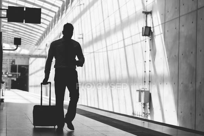 Silhouette of businessman with luggage — Stock Photo