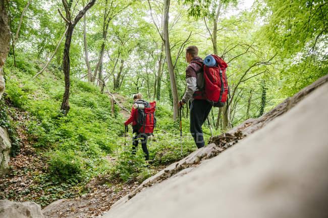 Jovem casal de Sérvia, Rakovac, caminhadas com mochilas — Fotografia de Stock