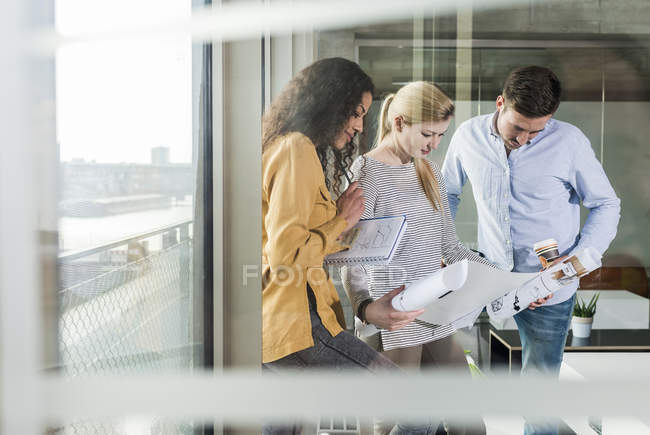 Three colleagues looking at plan in office — Stock Photo