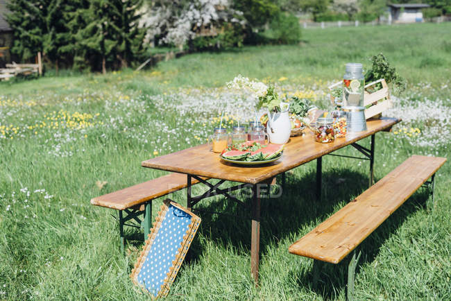 Beer table set with fruit and drinks on meadow \u2014 Stock Photo & Beer table set with fruit and drinks on meadow \u2014 Stock Photo ...