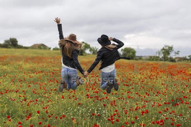Deux femmes sautant, champ de pavot, tenant la main — Photo de stock