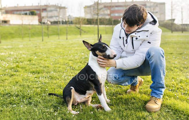 Junger Mann Petting Bullterrier auf der grünen Wiese — Stockfoto