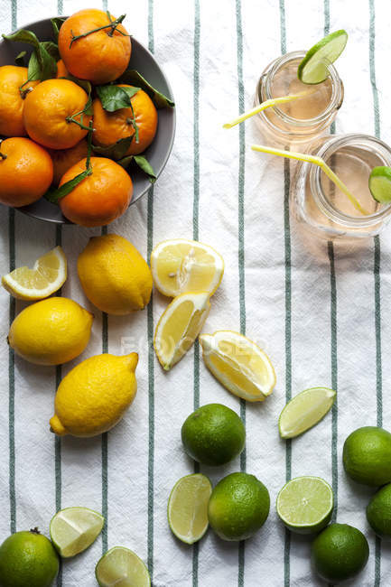 Two glasses of lemonade and different citrus fruits — Stock Photo