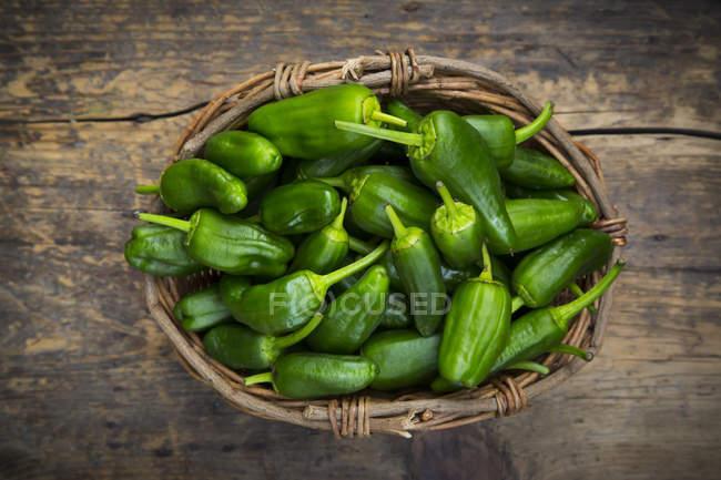 Cestino di vimini di padron peperoni — Foto stock