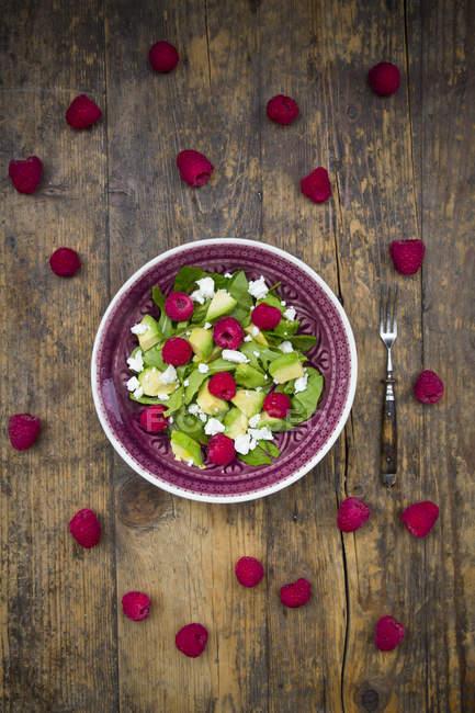 Bowl of avocado raspberry salad — Stock Photo
